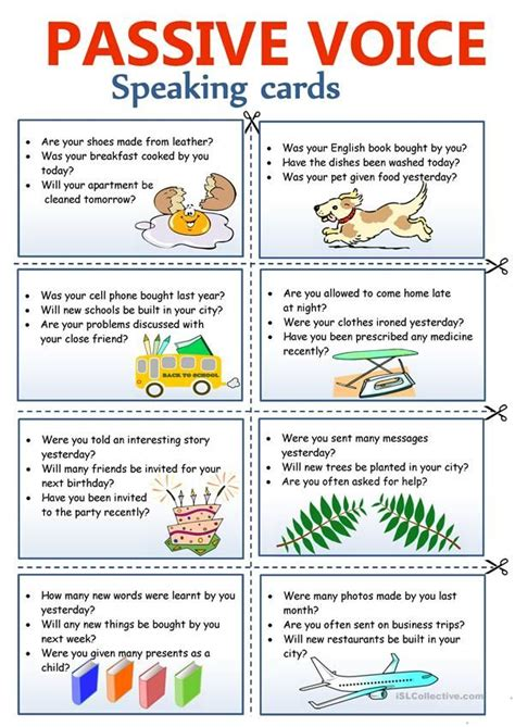 passive voice speaking cards  images english