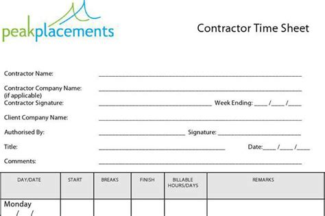 contractor timesheet templates