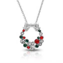 silvertone red green crystal christmas wreath bow necklace 16in