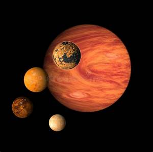 Planet Jupiter and moons stock illustration. Image of ...
