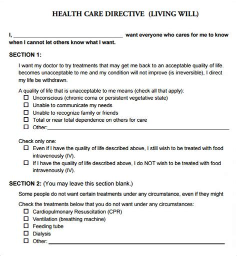 templates for wills free living will template 9 free pdf