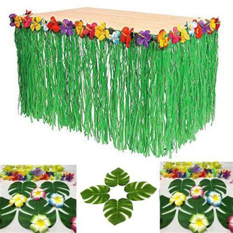 colored flower inlaid pp artificial grass table skirt