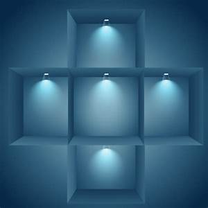Illuminated Shelves On Wall Vector Free Download