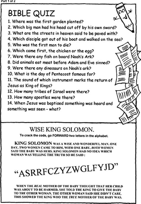 activity sheet bible quiz christartcom