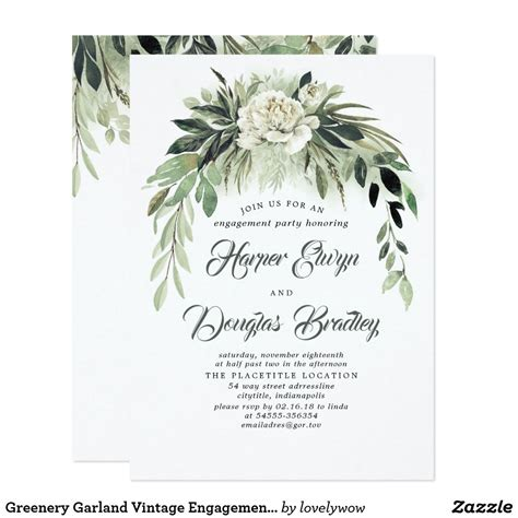 Greenery Garland Vintage Engagement Party Invitation