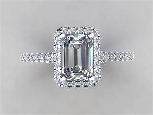 Emerald Cut Diamond Simulate Center Halo Engagement Ring ...
