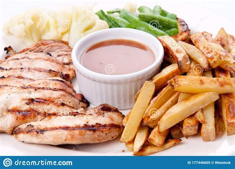 bbq chicken breast  fries jus  vegetables stock