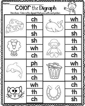 digraphs worksheets by teaching second grade teachers