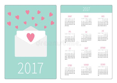 Pocket Calendar 2017 Year. Week Starts Sunday. Flat Design Business Letter Sample Block Format Avery Card Dimensions Australia Plan For Vocational Training School About Coffee Shop Closing Examples Partnership And Parts