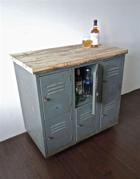 vintage metal lockers  reclaimed wood top  casters