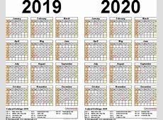20192020 Calendar free printable twoyear Word calendars