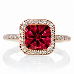 2 carat beautiful ruby and diamond halo wedding ring set With 10k white gold wedding ring set