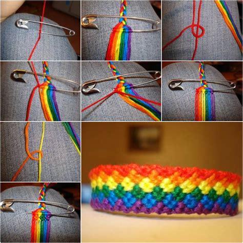 diy weave rainbow color baubles bracelet