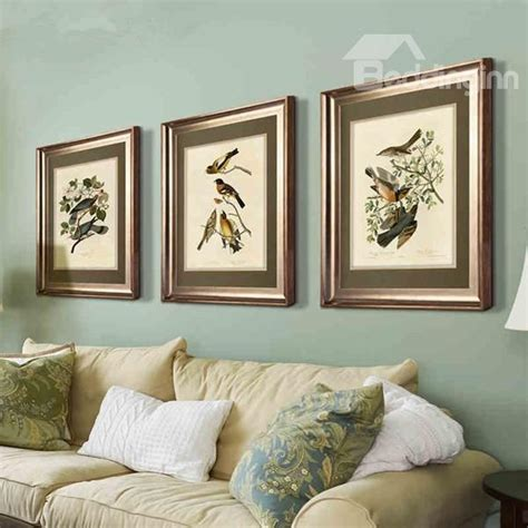 elegant flower  bird pattern living room wall art print