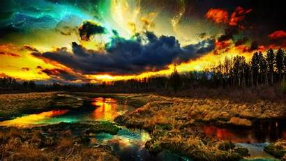 Colorful Nature Landscape Wallpapers Digital Forest Clouds