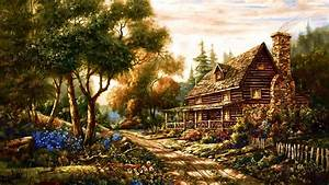 1920x1080 Forest Cottage Path Flowers desktop PC and Mac ...