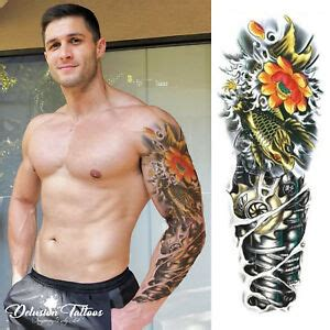Tatuaggio Carpa Koi E Fiori Di Loto by Temporary Sleeve Gold Koi Carp Robot Arm Lotus