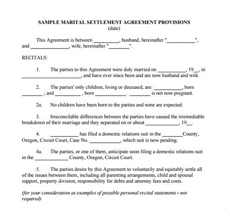 separation agreement template    documents
