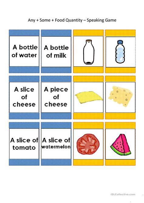 Speaking Cards Any, Some, Food Quantity (44 Cards) Worksheet  Free Esl Printable Worksheets