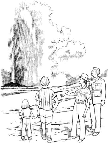 geyser in yellowstone national park coloring page free