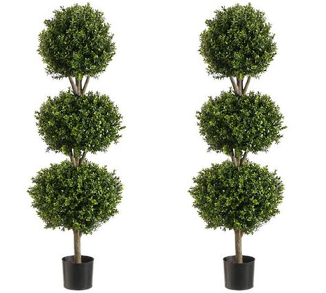 "Two 56"" Boxwood 3 Ball Topiary Artificial Tree W Pot In"