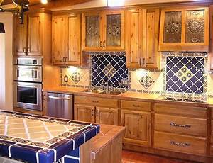 kitchen project want mexican tiles on countertop and With kitchen cabinets lowes with mexican tile wall art