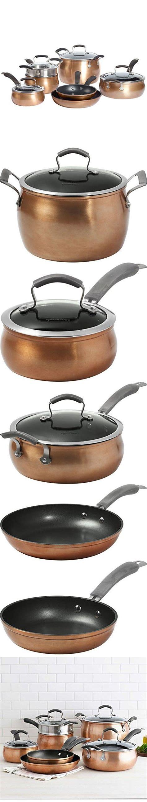 epicurious aluminum nonstick  piece cookware set  copper cookware set kitchen cookware