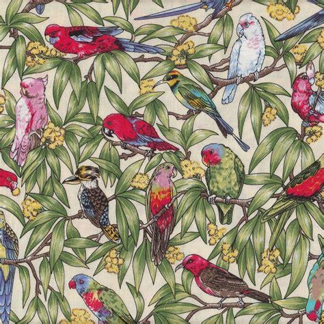 Upholstery Fabrics Australia by Australian Birds Corella Wattle Kingfisher Parrot