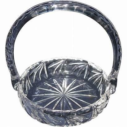 Glass Basket Crystal Handle Cut Early Bride