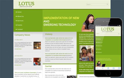 Free Lotus Education Web Template Mobile Website Template