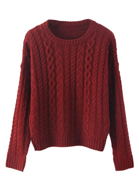 wine sweater wine neck cable knit sweater choies