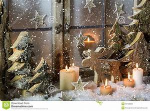 Natural Christmas Window Decoration Of Wood With Snow Stock Photo Image: 44100600
