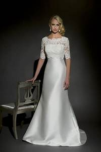 aline silk mikado gown with shear lace sleeves project With silk wedding dresses with sleeves