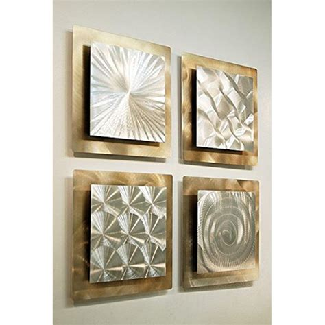 set of 4 silver gold metal wall accent sculpture