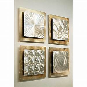 set of 4 silver gold metal wall art accent sculpture With metallic wall art