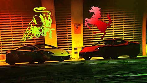 ferrari horse vs mustang horse byk kontra koń pojedynek ferrari vs lamborghini gta v