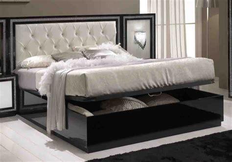 conforama chambres lit coffre krystel laque bicolore noir blanc