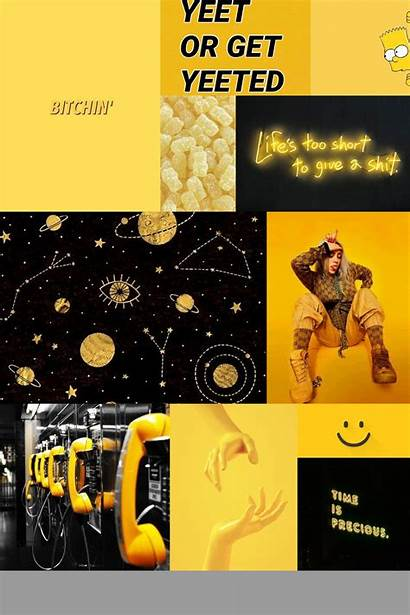 Aesthetic Collage Yellow Mood Board Dark Linnea