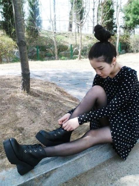 Korean Women Shoes Black Leather Platform Chunky Square