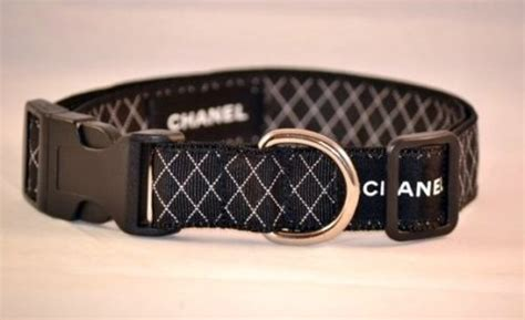 authentic chanel ribbon dog collar black quilted designer
