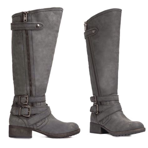 wide moto boots 53 off justfab boots tall wide calf grey moto boots