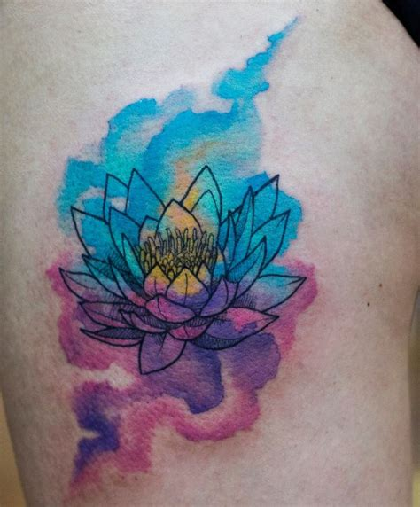 watercolor lotus tattoo designs ideas  meaning