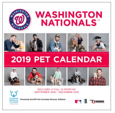washington nationals  pet calendar helps animals