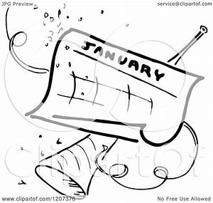 Clipart of a Vintage Black and White January Calendar with ...