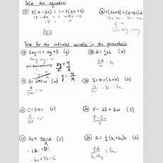 Solving Literal Equations For A Variable Worksheet Tessshebaylo