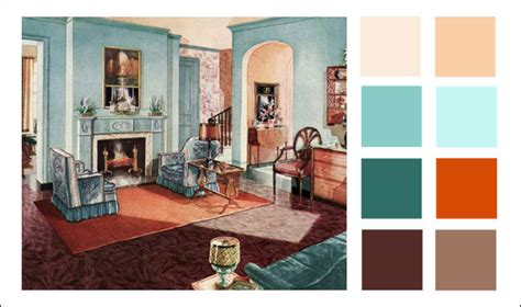 Living Room Color Schemes With Turquoise 1929 armstrong living room turquoise orange color