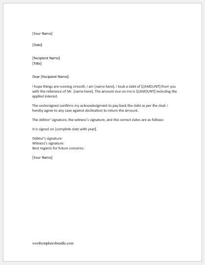 debt acknowledgment letter sample formal word templates