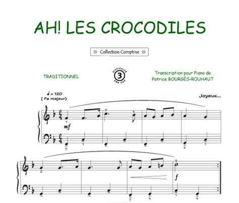 Ah les crocodiles (Comptine) Piano Voix Accords