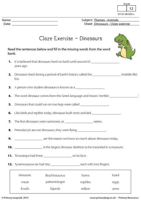 reading comprehension worksheet dinosaurs primaryleap co uk cloze exercise dinosaurs worksheet