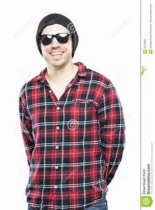 Hipster man in plaid shirt stock image. Image of portrait ...